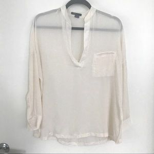 Vince Silk Split Neck Blouse